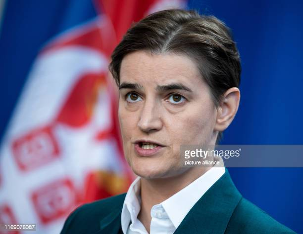 Ana Brnabic Prime Minister of Serbia spoke at a press conference with Chancellor Merkel after her meeting at the Federal Chancellery Photo Bernd von...