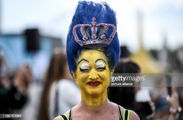 At the Lollapalooza Festival Berlin on the grounds of the Olympic Stadium a visitor had her face painted like the comic character Marge Simpson Photo...