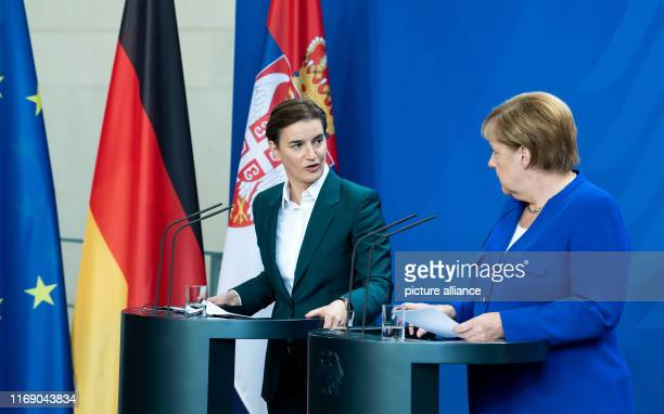 Federal Chancellor Angela Merkel and Ana Brnabic Prime Minister of Serbia will speak at a press conference after their talks at the Federal...