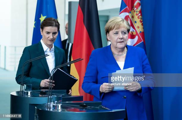 Federal Chancellor Angela Merkel and Ana Brnabic Prime Minister of Serbia will attend the press conference after their talks at the Federal...