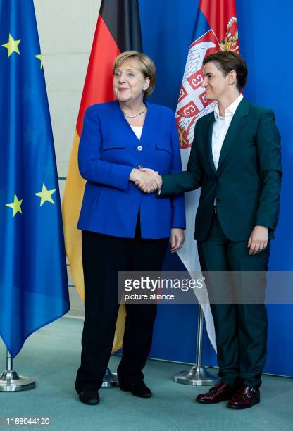 Federal Chancellor Angela Merkel and Ana Brnabic Prime Minister of Serbia shake hands at a press conference after their talks in the Federal...