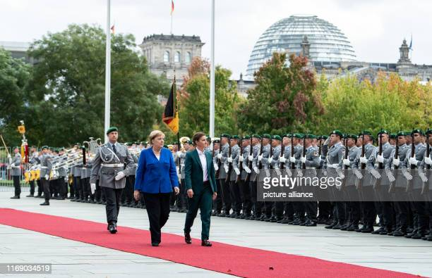Federal Chancellor Angela Merkel receives Ana Brnabic Prime Minister of Serbia with military honours before the Federal Chancellery Photo Bernd von...