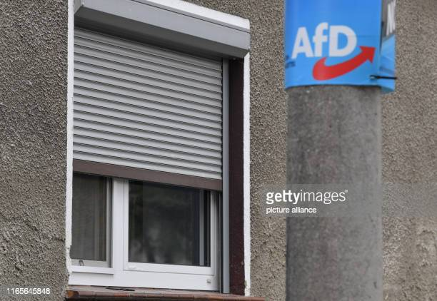 September 2019, Brandenburg, Hirschfeld: An AfD election poster hangs on a mast in Hirschfeld in the Elbe-Elster district. In the small municipality...