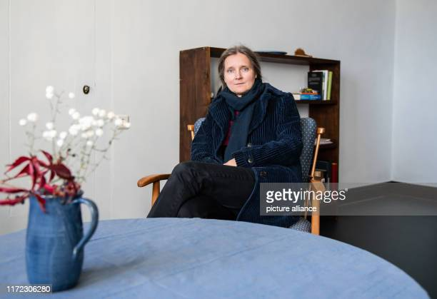 18 September 2019 Hessen LahntalGoßfelden Marion Poschmann author sits on a chair in the Ubbelohde house The more than 100yearold Künstlerhaus in the...