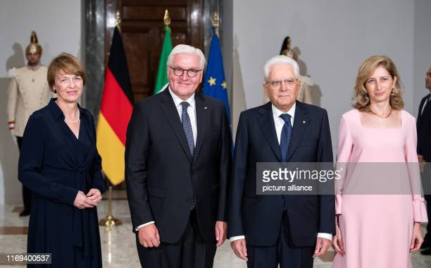 September 2019, Italy, Rom: Federal President Frank-Walter Steinmeier and his wife Elke Büdenbender stand next to each other in the Quirinalspalast...