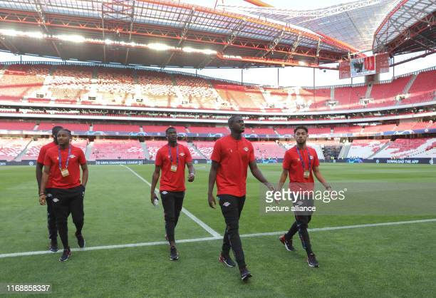 Soccer Champions League Benfica Lisbon RB Leipzig Group stage Group G 1st matchday at Estadio da Luz The players Christopher Nkunku Nordi Mukiele...