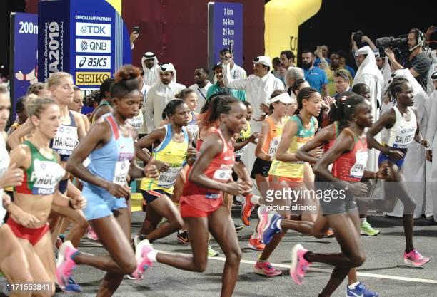 September 2019, Qatar, Doha: Athletics, World Championships, World Championships in Doha Corniche: Marathon, women: Sheikh Tamim bin Hamad Al Thani ,...