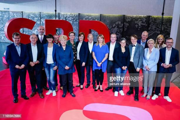 September 2019, Saarland, Saarbrücken: The candidates for the SPD chairmanship - Ralf Stegner , Norbert Walter-Borjans, Alexander Ahrens, Saskia...