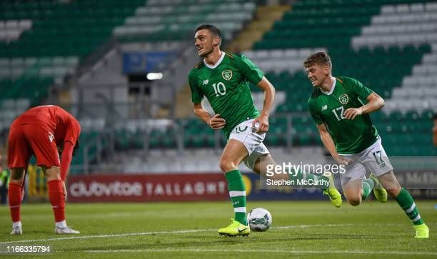 September 2019 Troy Parrott of Republic of Ireland celebrates after scoring his side's first goal with teammate Gavin Kilkenny right during the UEFA...