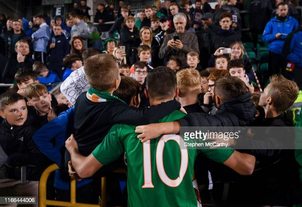 September 2019 Troy Parrott of Republic of Ireland with supporters following the UEFA European U21 Championship Qualifier Group 1 match between...