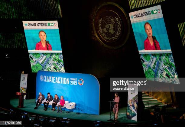 Greta Thunberg climate activist and initiator of the environmental movement Fridays for Future speaks at the UN climate summit at the United Nations...