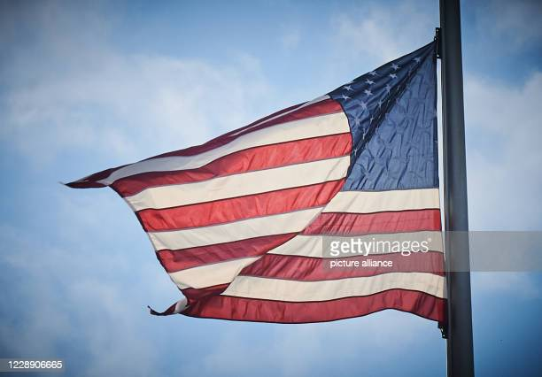 September 2020, Berlin: The flag of the United States of America flies at the American Embassy on Pariser Platz. The presidential elections in the...