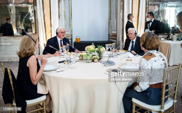 September 2020, Italy, Mailand: Federal President Frank-Walter Steinmeier and his wife Elke Büdenbender sit together with Sergio Mattarella,...