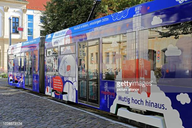 18 September 2020 SaxonyAnhalt Magdeburg A newly designed tram of the Magdeburger Verkehrsbetriebe is about to make its special trip to the city...