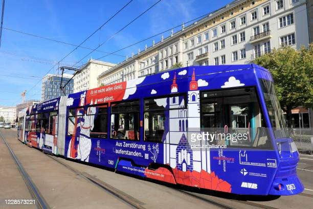 18 September 2020 SaxonyAnhalt Magdeburg A newly designed tram of the Magdeburg public transport company MVB is about to make its special trip to the...
