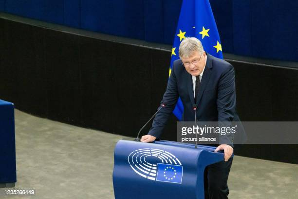 September 2021, France, Straßburg: Jörg Meuthen , member of the parliamentary group ID, addresses MEPs during a debate on the State of the Union....