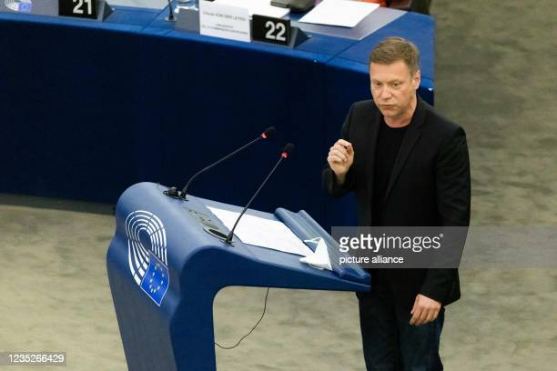 September 2021, France, Straßburg: Martin Schirdewan, Member of the Left Group, addresses MEPs during a debate on the State of the Union. Among other...