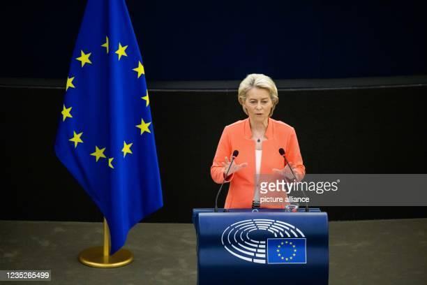 September 2021, France, Straßburg: Ursula von der Leyen , President of the European Commission and member of the EPP Group, praises the fight against...
