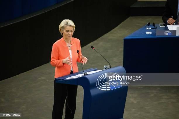 September 2021, France, Straßburg: Ursula von der Leyen , President of the European Commission and Member of the EPP Group, will address MEPs on the...