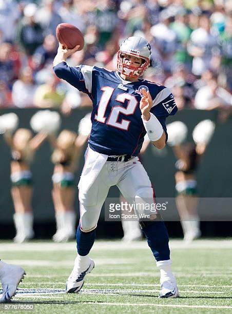 New England Patriots Vs New York Jets at Giants Stadium Patriots quarterback Tom Brady throws a pass in the first half