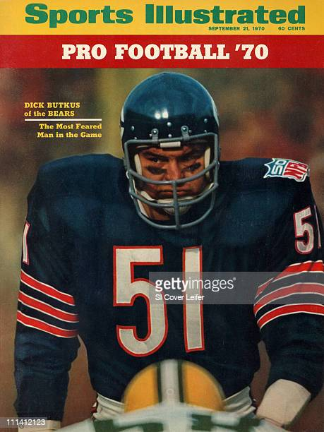 September 21, 1970 Sports Illustrated via Getty Images Cover.Football: Closeup of Chicago Bears Dick Butkus during game vs Green Bay Packers at...