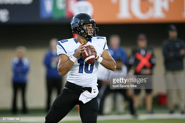 Eastern Illinois quarterback Jimmy Garoppolo looks for an open receiver downfield during the Northern Illinois Huskies game against the Eastern...