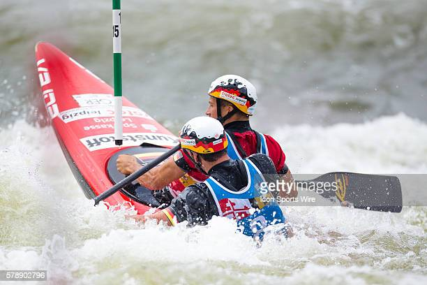 Anton Franz and Jan Benzien compete in the men's double canoe finals at the Deep Creek 2014 whitewater slalom World Championships at Adventure Sports...