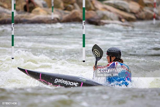 Bethan Latham competes in the women's single kayak finals at the Deep Creek 2014 whitewater slalom World Championships at Adventure Sports...