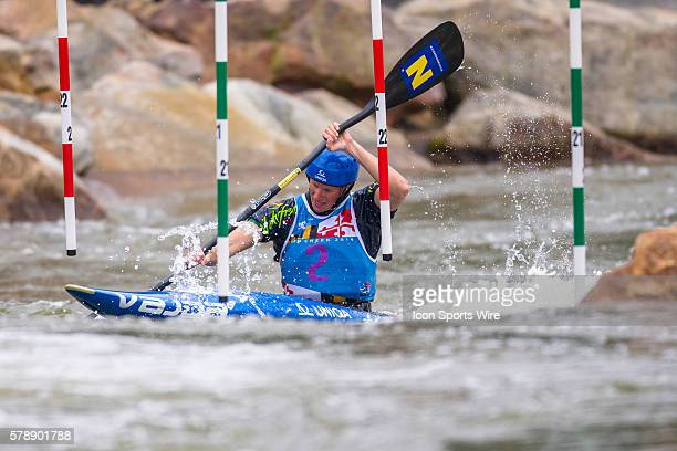 Corinna Kuhnle competes in the women's single kayak final run at the Deep Creek 2014 whitewater slalom World Championships at Adventure Sports...