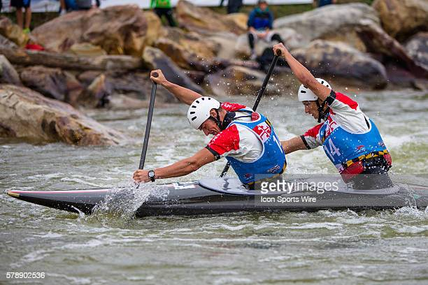 Filip Brzezinski and Andrzej Brzezinski compete in the men's double canoe finals at the Deep Creek 2014 whitewater slalom World Championships at...