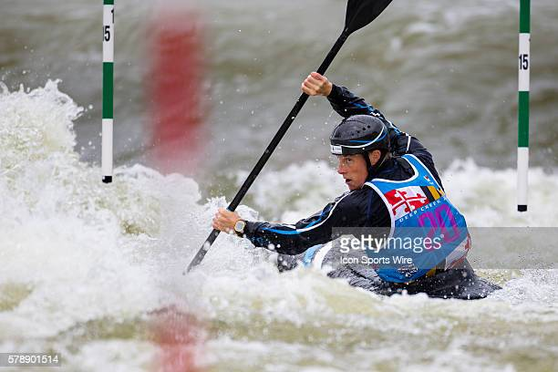 Fiona Pennie competes in the women's single kayak final run on her way to finishing in 2nd place at the Deep Creek 2014 whitewater slalom World...