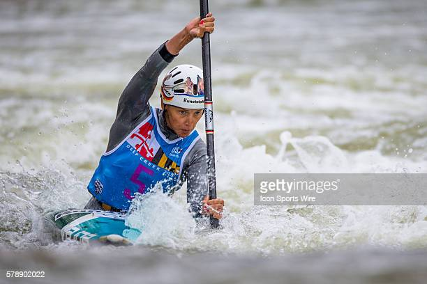 Jasmin Schornberg competes in the women's single kayak final run at the Deep Creek 2014 whitewater slalom World Championships at Adventure Sports...