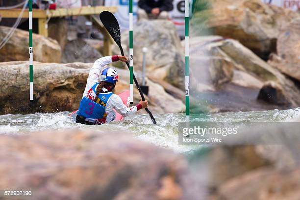 Jessica Fox competes in the women's single kayak final run taking first place in the event at the Deep Creek 2014 whitewater slalom World...