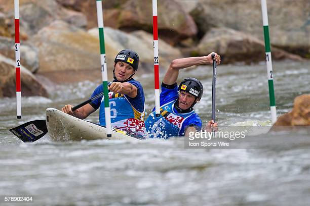 Jonas Kaspar and Marek Sindler compete in the men's double canoe finals at the Deep Creek 2014 whitewater slalom World Championships at Adventure...
