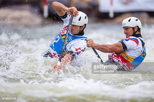 Ladislav Skantar and Peter Skantar compete in the men's double canoe finals taking 3rd place at the Deep Creek 2014 whitewater slalom World...