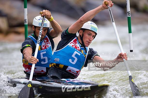 Luka Bozic and Saso Taljat compete in the men's double canoe finals taking first place at the Deep Creek 2014 whitewater slalom World Championships...