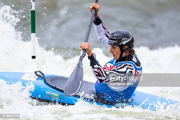 Luuka Jones competes in the women's single kayak final run at the Deep Creek 2014 whitewater slalom World Championships at Adventure Sports...