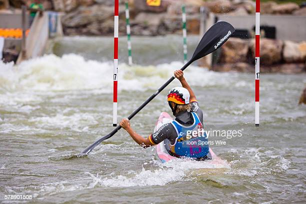Melanie Pfeifer competes in the women's single kayak final run on her way to taking 3rd place at the Deep Creek 2014 whitewater slalom World...