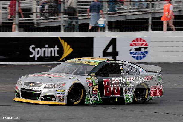 NASCAR Chase contender Dale Earnhardt Jr driver of the Diet Mountain Dew Chevrolet exits turn 4 during the Sylvania 300 at New Hampshire Motor...