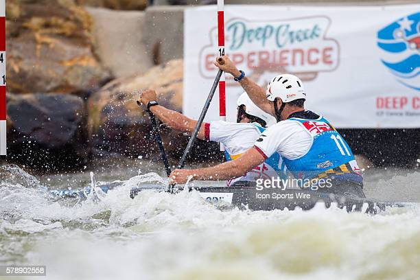 Pierre Picco and Higo Biso compete in the men's double canoe finals taking second place at the Deep Creek 2014 whitewater slalom World Championships...