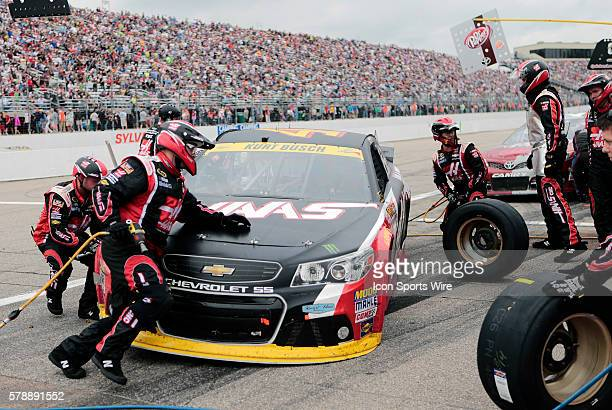 Pit stop for NASCAR Chase contender Kurt Busch driver of the Haas Automation Chevrolet during the Sylvania 300 at New Hampshire Motor Speedway in...
