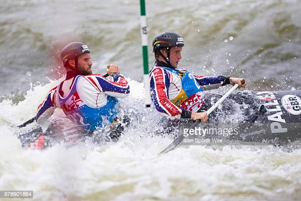 Rhys Davies and Matthew Lister compete in the men's double canoe finals at the Deep Creek 2014 whitewater slalom World Championships at Adventure...