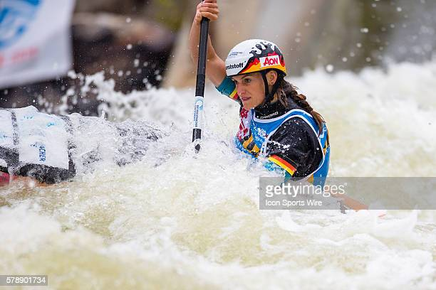 Ricarda Funk competes in the women's single kayak finals at the Deep Creek 2014 whitewater slalom World Championships at Adventure Sports...