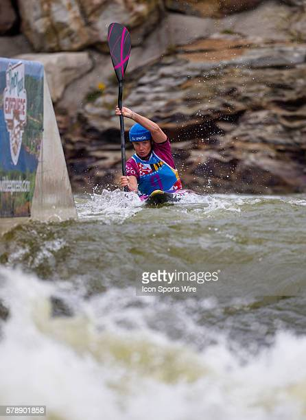 Stepanka Hilgertova competes in the women's single kayak final run at the Deep Creek 2014 whitewater slalom World Championships at Adventure Sports...
