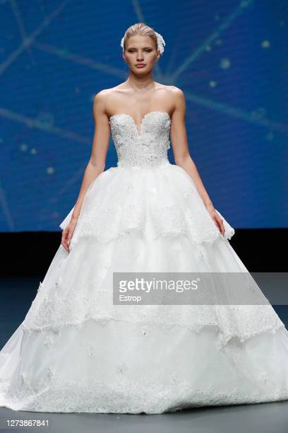 September 21: A model walks the runway during the Amelia Casablanca show as part of the Valmont Barcelona Bridal Fashion Week 2020 on September 21,...