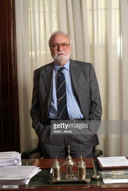 September 22 2005 Madrid Spain Portrait of Juan Jose Martinez Zato prosecutor of the Supreme Court in his office