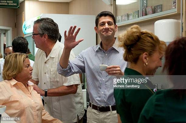 September 22 2012 ILEANA ROSLEHTINEN JEB BUSH PAUL RYAN LOURDES ALCERROWAITRESS having cuban coffee Republican Paul Ryan Campaigns At Versailles...