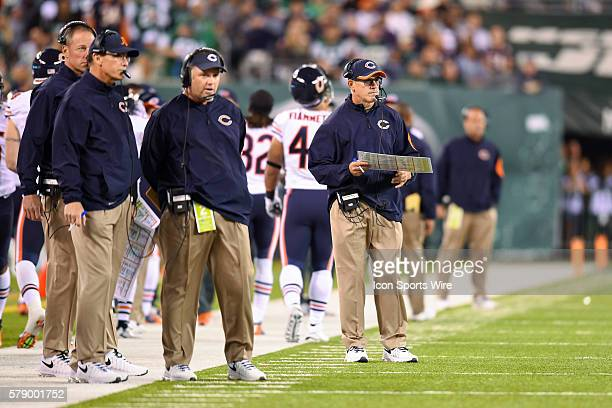 Chicago Bears Quarterbacks coach Matt Cavanaugh during a NFL game between the Chicago Bears and the New York Jets at MetLife Stadium in East...
