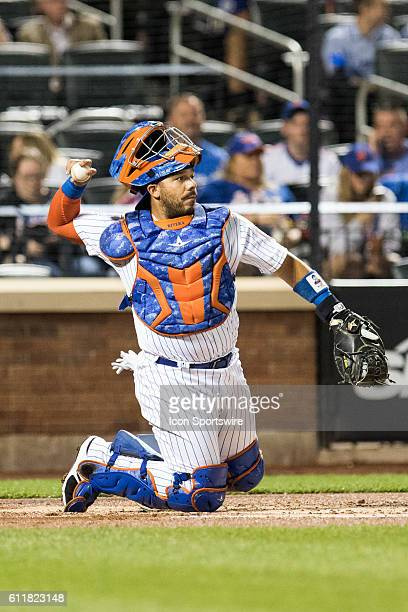New York Mets Catcher Rene Rivera [2739] behind the plate in the second inning of a regular season game between the Philadelphia Phillies and the New...