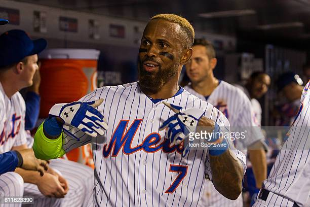 New York Mets Infield Jose Reyes [3276] celebrates in the dugout after hitting a two run homer in the ninth inning of a regular season game between...